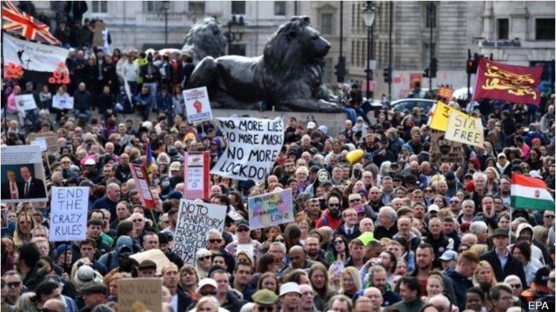كوفيد 19 تجمع المحتجين في لندن